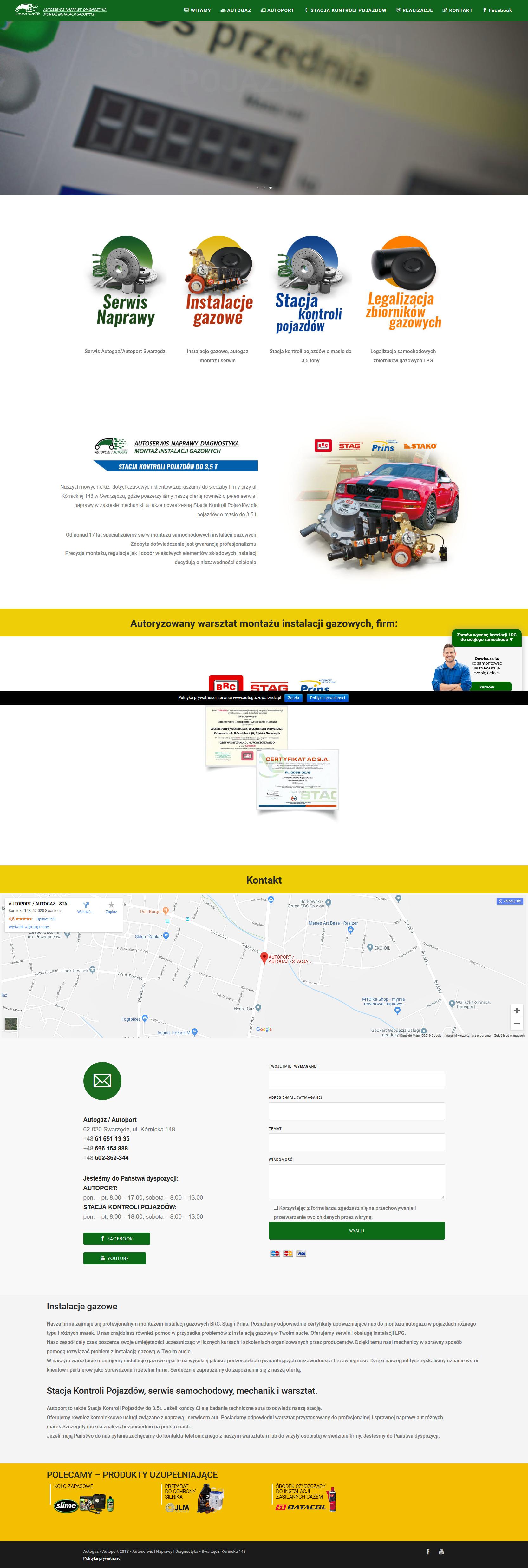 Autogaz Poznań - instalacje gazowe, montaż i serwis, legalizacja zbiorników LPG, mechanik Swarzędz